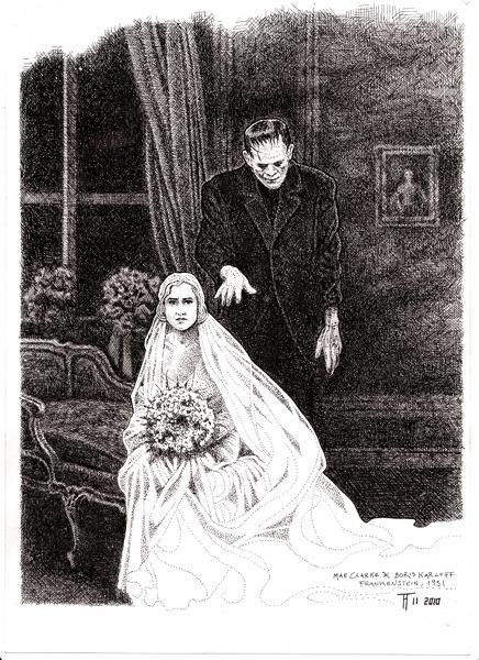 Mae Clarke und Boris Karloff, (1931), drawing