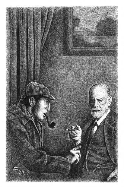 Fabian Fröhlich, Illustration, Nicholas Meyer, The Seven-Per-Cent-Solution, Sherlock Holmes und der Fall Sigmund Freud
